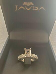 0.75Ct. Diamond Engagement Ring Emerald Semi Mount 72 Natural Diamonds