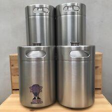 Four Mini Keg Beer Growlers 5L Stainless Steel barrel bottle screw top naked keg