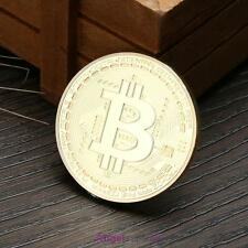 Gold Plated Physical Bitcoins Casascius Bit Coin BTC Souvenir Coin With Case
