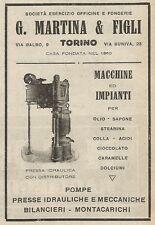 Z2007 G. Martina & Figli - Pressa idraulica con distributore_Pubblicità d'epoca