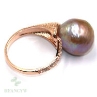 14-15mm Natural Purple Baroque Pearl ring Adjustable 18k Huge Jewelry