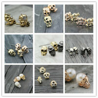 Silver 18K GP Punk Skull Head Skeleton Ghost crystal stud earrings stainless