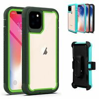 For iPhone 11 Pro/11 Pro Max Rugged Clear Armor Case Hybrid Cover Clip Holster