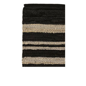 BROSTE Nordic style leather/cotton runner rug IVORY & BLACK 250 x 80cm 70070053