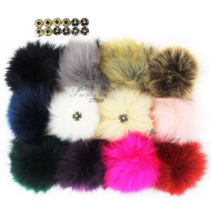 "4.3"" Pack of 12 Faux Fur Pom poms for Hat Knitted Beanie Snap Press Button"