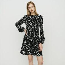 2019 Maje Rockiz Daisy Print Long Sleeve Pleated Dress $295 Sz 3 (US 8 10) Large