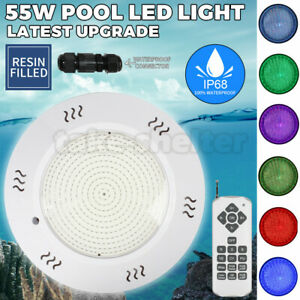12V 55W Resin Filled Swimming Pool LED Light RGB Remote Controller Retro Fit AU