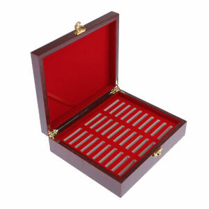 Handmade Wooden Box for Storing 30 Coins 46mm Collection