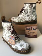 Bnib! Dr.Martens 1460 Grey Tapestry Floral Leather Boots Sz UK8 *Made In England