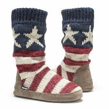 NWT Muk Luks Vanessa AMERICAN FLAG Fleece-Lined Sweater Slipper Boots S 5/6 Red