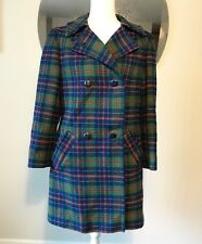 Pendleton Double Breasted Plaid Wool Fall Jacket Coat Green Tartan Women 10 L