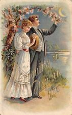 """Spooning in"" Coleman Wisconsin~Victorian Couple in Moonlight~Embossed~1908 PC"