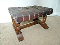 Antique Solid Oak Upholstered Stool with Woven Brown Leather Seat  Studded Edges