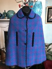 Original Vintage Welsh Wool Cape Geometric Design Pink Blue Turquoise Black