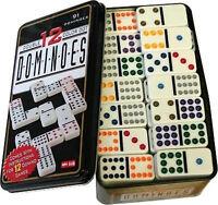 Domino Doppel 12 in Metalldose Color 91 Stück mit farbigen Punkten