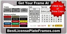 CUSTOM PERSONALIZED LASER ENGRAVED PLASTIC LICENSE PLATE FRAME with FREE Caps