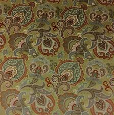 """CLARENCE HOUSE PARKER PAISLEY GREEN HAND PRINTED ITALIAN VELVET FABRIC BTY 54""""W"""