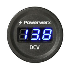 Powerwerx Panel Mount Automotive Digital Blue Volt Meter for 12/24VDC Systems