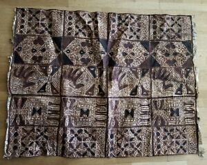 "Vintage TAPA Bark Cloth Pacific Polynesian Islands - Hand Print Design 41""X55"""