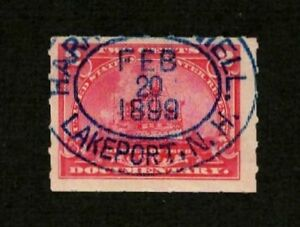 US Revenue 1898 R164 (Lakeport NH 2-20-1899 cds) 2c Battleship Documentary VF-XF