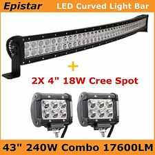 "43"" 240W Curved LED Work Light Bar Combo Off-road Truck SUV+ 2X 4"" 18W Cree Spot"