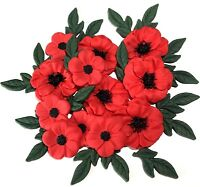 RED POPPY REMEMBRANCE DAY BOUQUET Edible Cupcake Cake Topper Decorations
