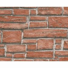 NEW AS CREATION RED BRICK PATTERN EMBOSSED VINYL FAUX EFFECT WALLPAPER 662118