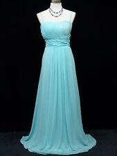 Cherlone Chiffon Blue Ballgown Wedding Evening Bridesmaid Full Length Dress 14