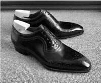 Handmade men's black leather formal lace-up shoes custom leather oxford shoes