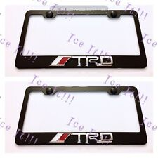 2X 3D TRD Emblem Toyota Black Stainless Steel License Plate Frame RustFree W/Cap