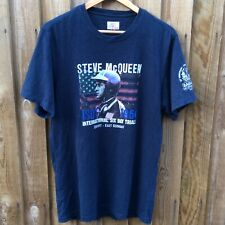 Mens BARBOUR Steve McQueen ISDT ERFURT Navy T Shirt | Size Large Slim Fit