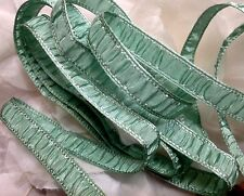 "VINTAGE 1/2"" RUCHED RAYON TRIM edging 1yd MINT GREEN Made in France Dolls Child"