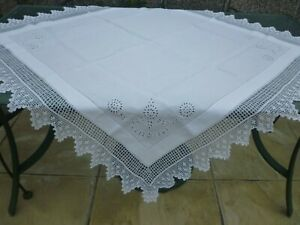hand made antique linen and lace tablecloth