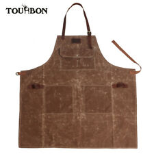 TOURBON Waxed Canvas Work Tool Apron with Pockets Adjustable Leather Strap New