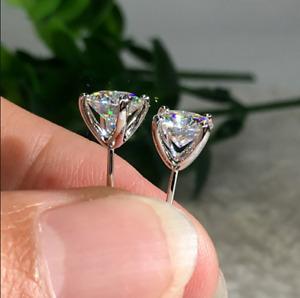 4Ct Round Cut Moissanite Diamond Solitaire Stud Earrings 14K White Gold Finish