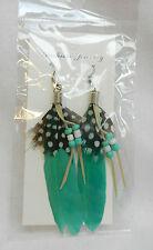 Green Feather Earrings - BNIB