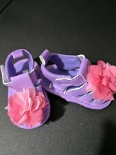 Baby infant girl Laura Ashley size 2 purple sandals pink flower NEW