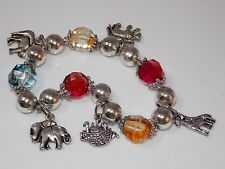 Faceted Crystal Bead Noahs Ark Animal pairs Charm Stretch Silver Bracelet 10d 58