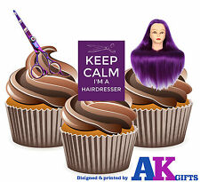 12 Purple Keep Calm Hairdressing Scissors Training Head Mix EDIBLE CAKE TOPPERS