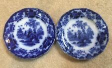 """2 Rare  A.G. Alcock Jr Flow Blue 6 1/2""""Plates. """"scinde"""" marked on back"""