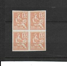 FRANCE BLOC 4 TIMBRES MOUCHON 15C ORANGE NON DENTELÉS  N°117 C SIGNES CALVES