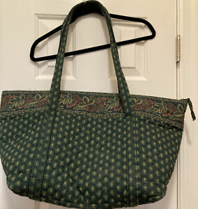 Tote Bag Classic Green RETIRED pattern by Vera Bradley, Made In USA