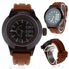 Mens Brown Sport Silicone Band Stainlessl Round Analog Quartz Wrist Watch