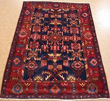 4 x 5 PERSIAN NAHAVAND Tribal Nomadic Hand Knotted Wool NAVY REDS Oriental Rug