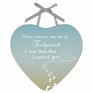 Hanging Heart Plaque - Mirror Glass - by Reflections - Footprints