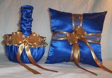 Horizon Blue Satin / Gold Trim Flower Girl Basket & Ring Bearer Pillow #1