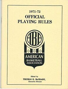1971-72 American Basketball Association Rule Book, ABA