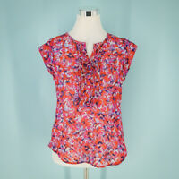 41Hawthorn Stitch Fix Size Small S Top Floral Blouse Pleated Button Semi Sheer