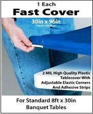 12 BLUE FAST COVER 8 FT. FITTED PLASTIC TABLECLOTHS TABLE COVER SAVE 50%! PICNIC