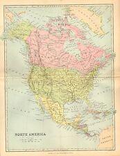 1874 MAP ~ NORTH AMERICA DOMINIONN OF CANADA UNITED STATES MEXICO CUBA JAMAICA